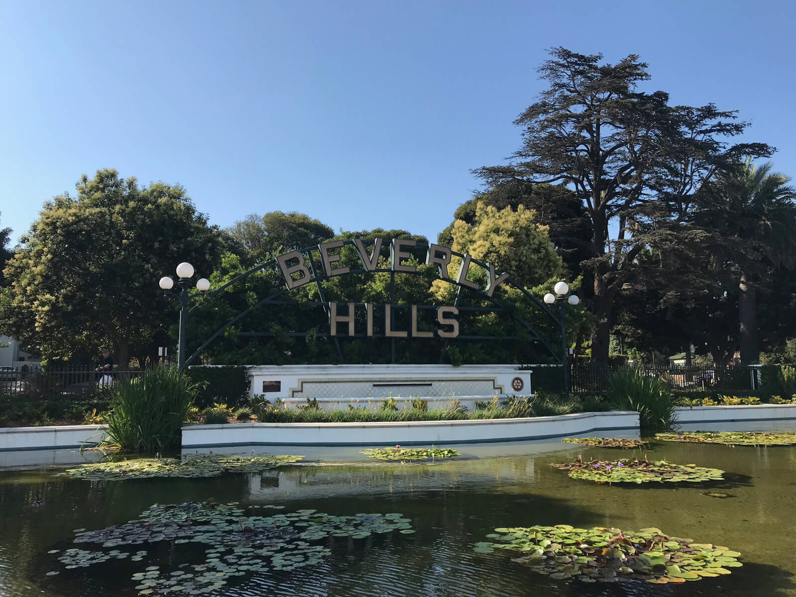 "A pond with some lilypads. Behind the pond are trees and a metal sign with the words ""Beverly Hills"" on it in metal letters"
