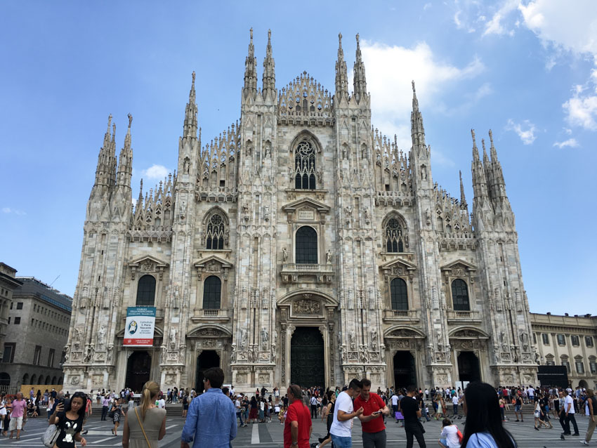 The Milan Cathedral with crowds in front