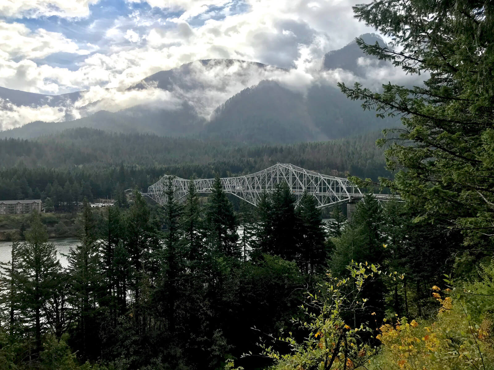 A view of the Bridge of Gods from Washington state. The view of the bridge is partially obstructed by trees
