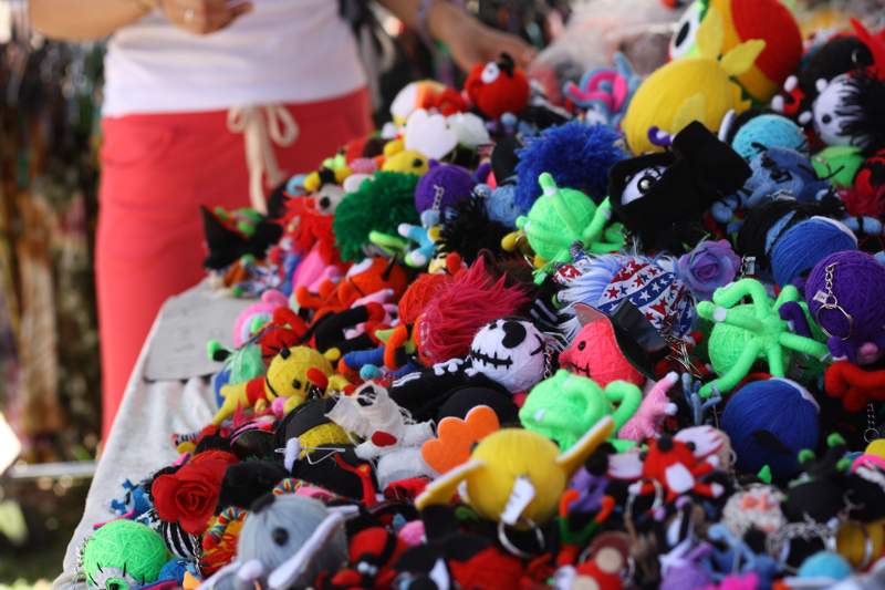 Cute voodoo dolls in a pile