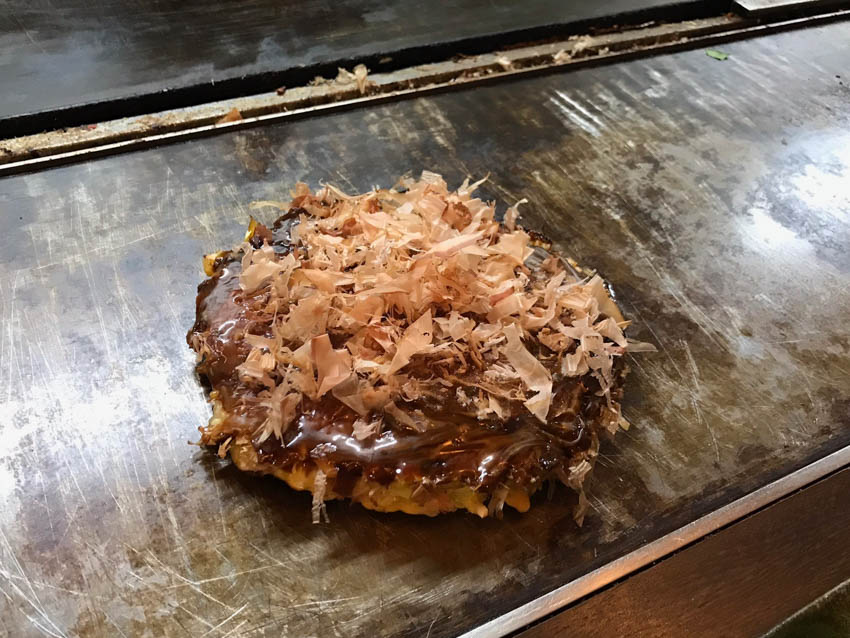 Bacon, egg and cheese okonomiyaki