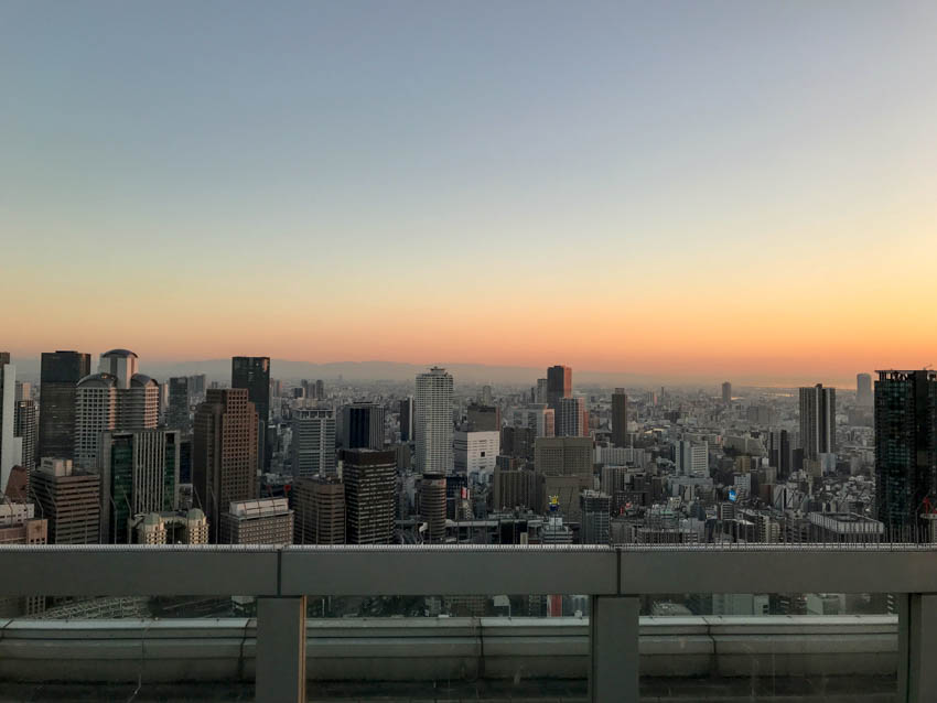 The skyline view from the top of the Umeda Sky Building