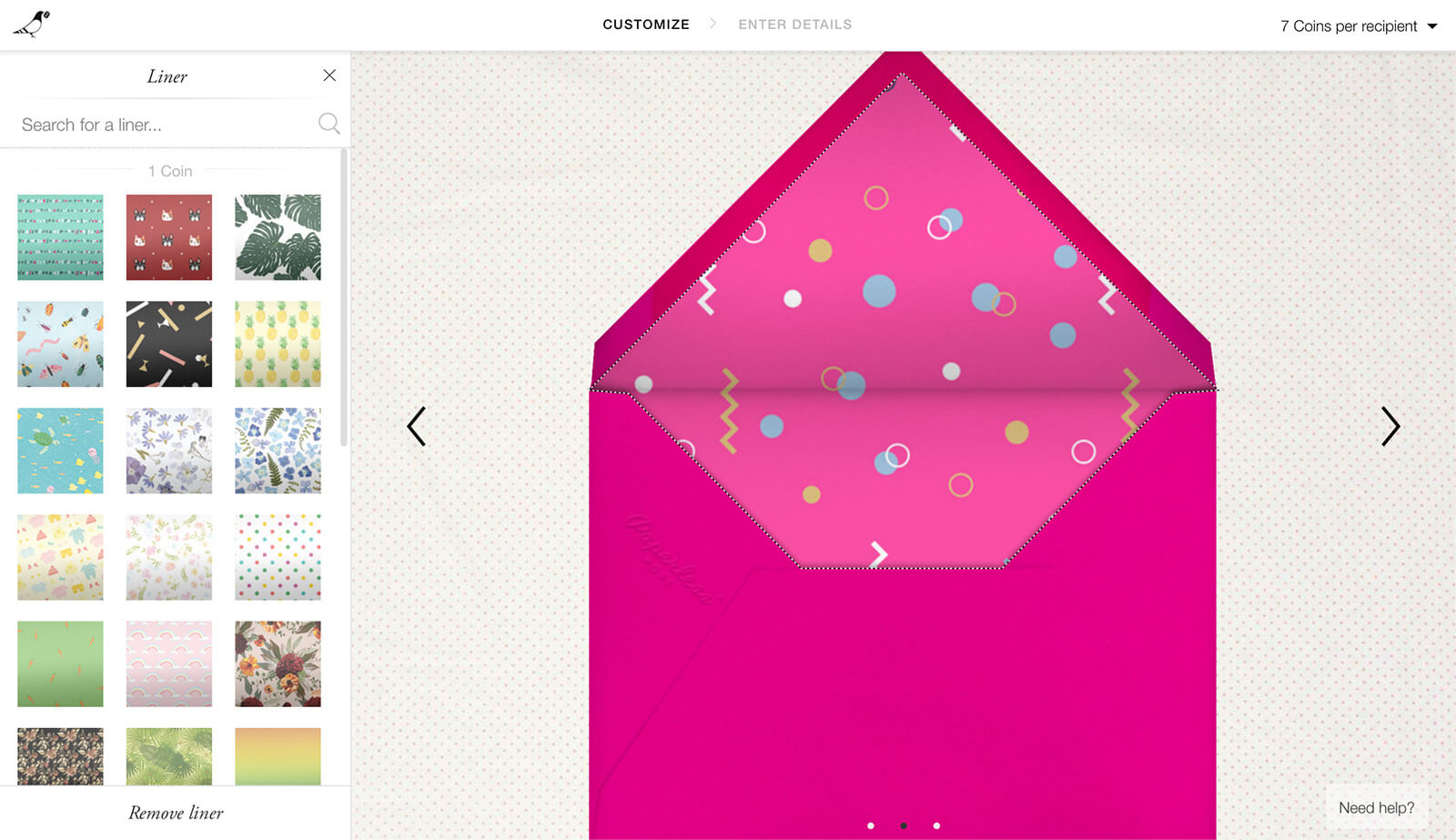 Screenshot of Paperless Post website with an open pink envelope design and selections on the left for the envelope liner design
