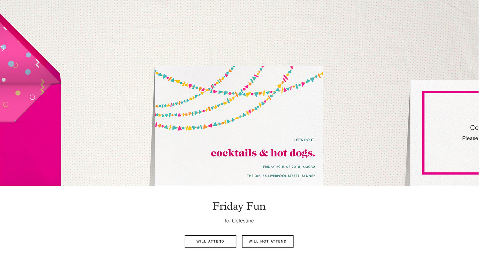 "Screenshot of Paperless Post showing an invitation as it is received. The events read ""cocktails & hot dogs."""