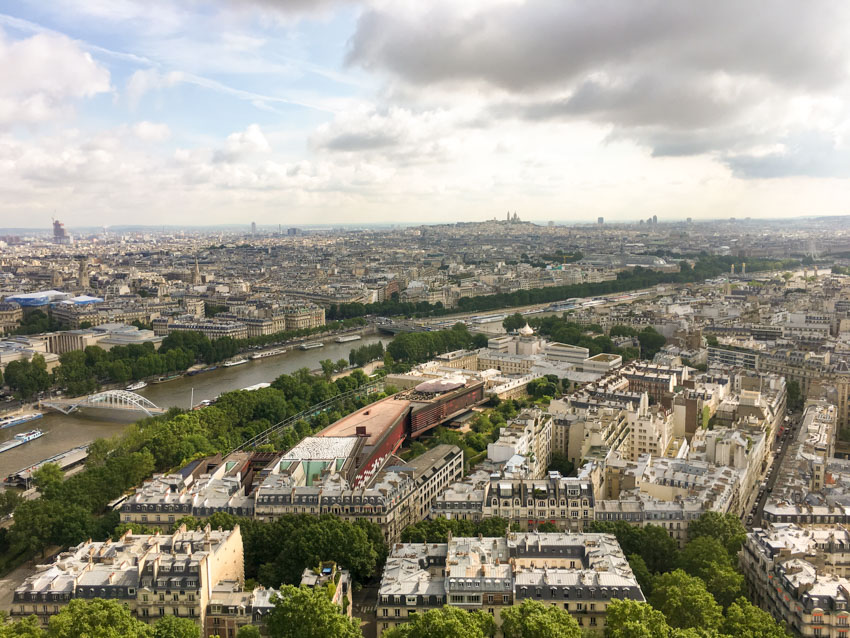 A view from halfway up the Eiffel Tower