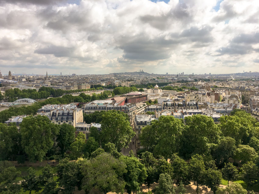 Paris as seen from the halfway point of the Eiffel Tower
