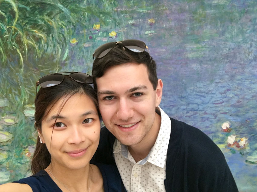Myself and Nick with one of Claude Monet's Water Lilies murals as a backdrop