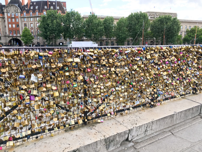 A huge array of locks on a bridge