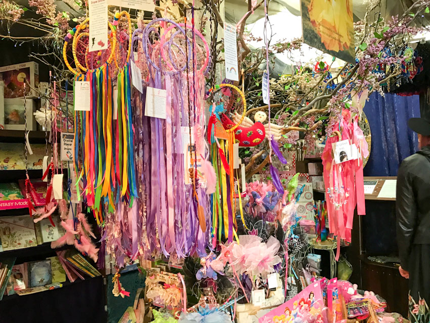 Colourful dreamcatchers inside a fairy store