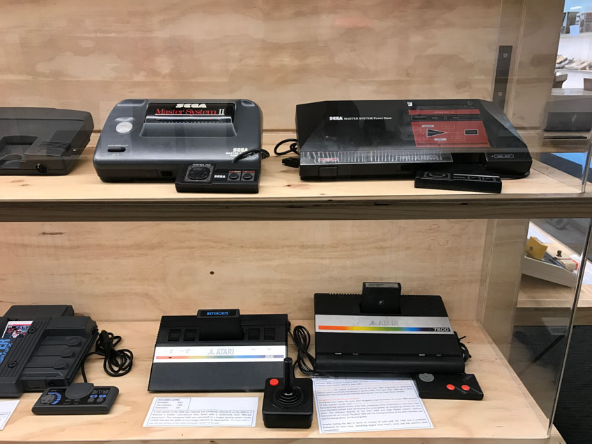 Display of some old SEGA consoles