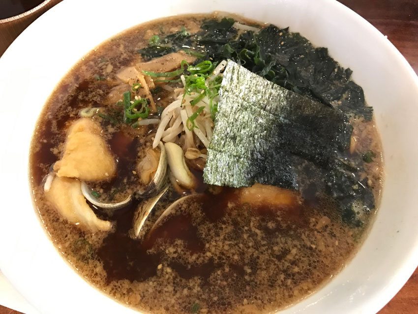 Bowl of sesame soup ramen with seafood
