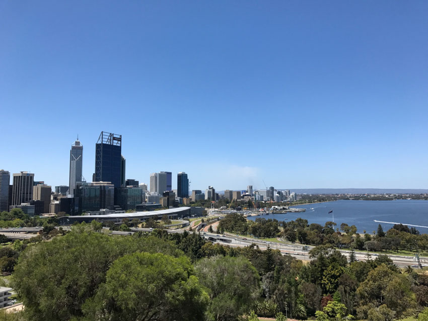A view of the city of Perth from Kings Park