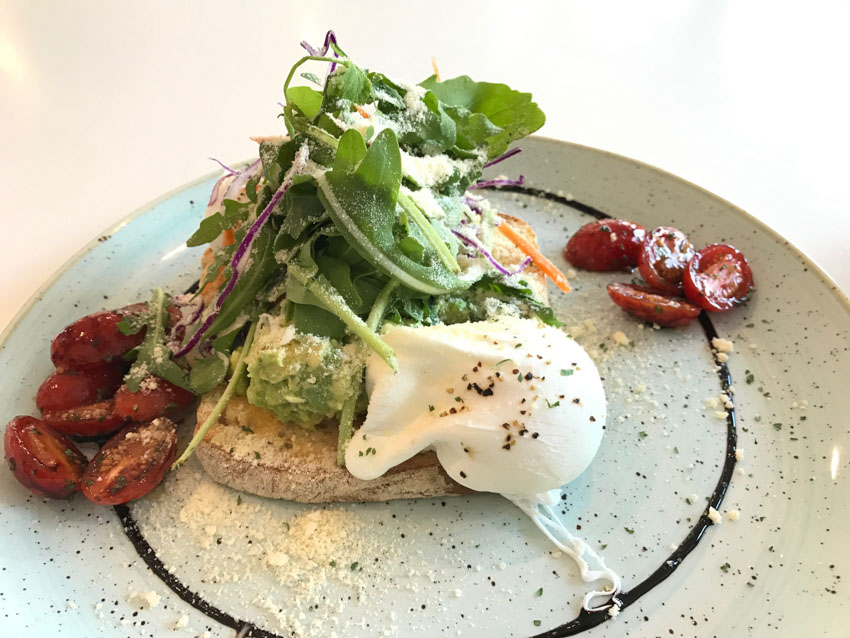 Sundried tomatoes, poached egg, rocket, avocado... on toast!