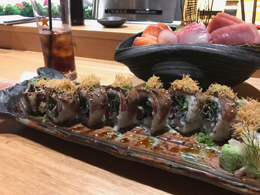 Wagyu beef sushi rolls