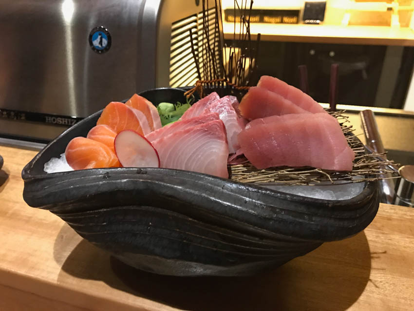 Close-up of the sashimi