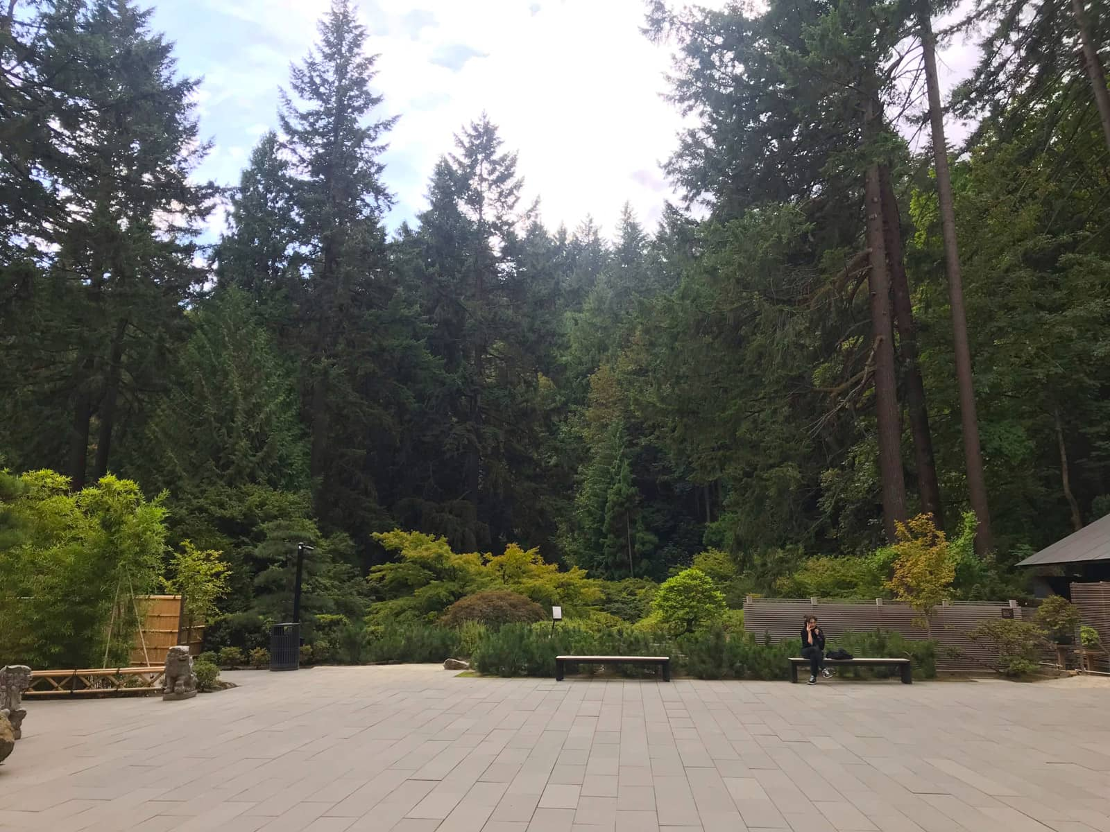 An open paved area with a forest in the background. At the edge of the paved area are a couple of benches. A woman is sitting on one of them and appears to be on the phone.