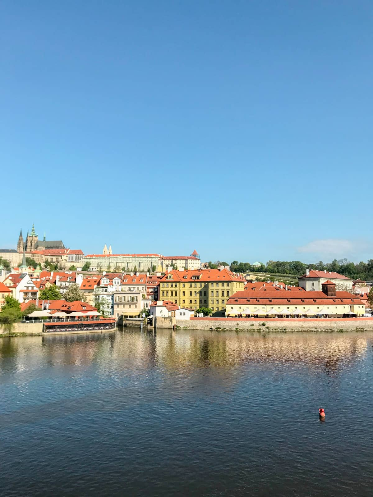 A view of part of the city of Prague as seen from across the river