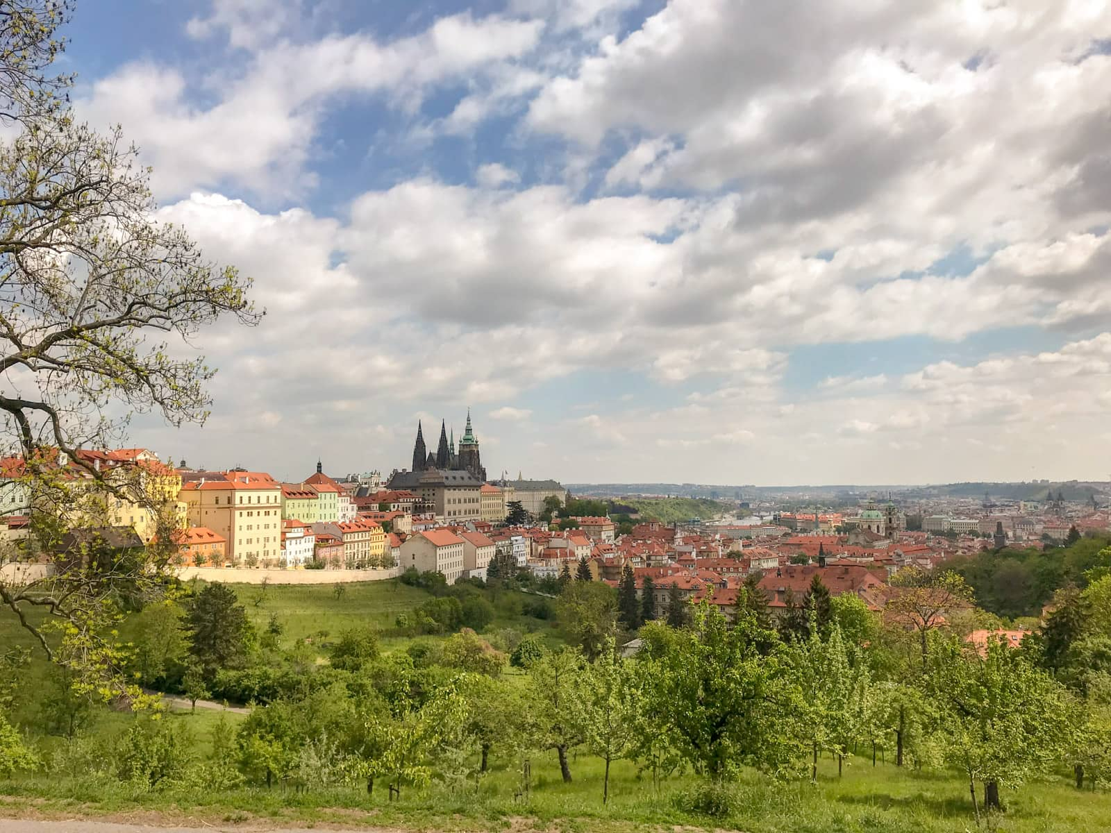 A view of the city of Prague from a high vantage point, with green hills in the foreground and many old houses in the background. The sky is blue with white clouds.