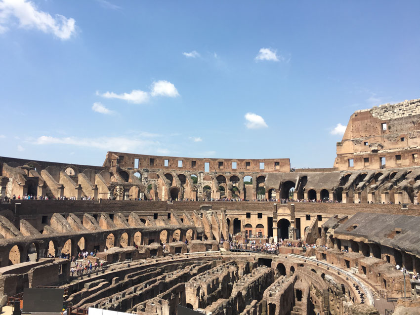 The inside of the Colosseum from a top level