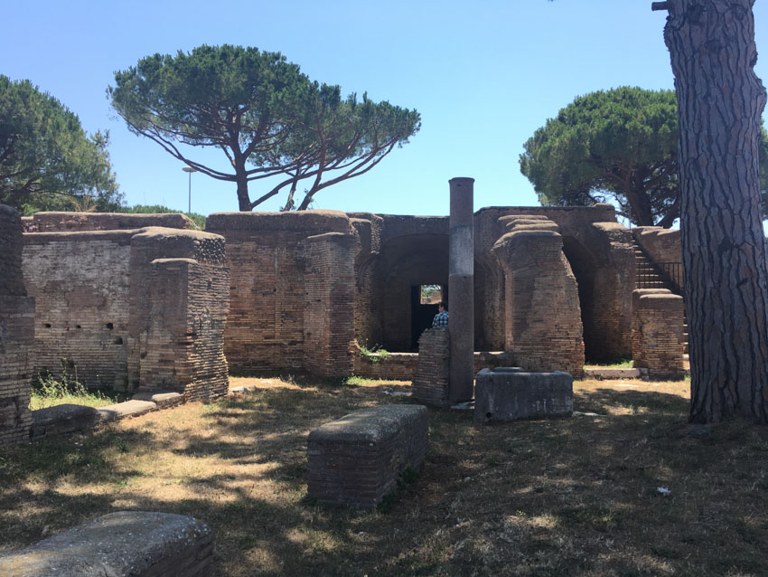 An area in Ostia Antica with more grass growth