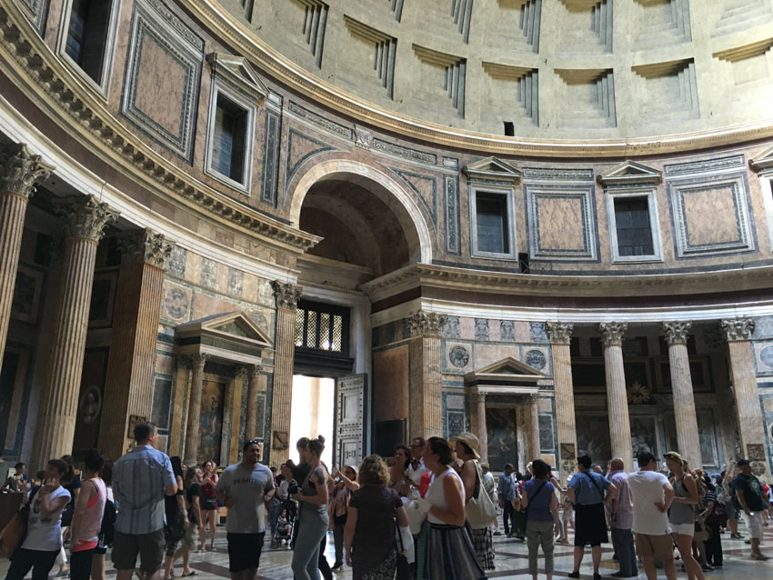 Walls of the inside of the Pantheon