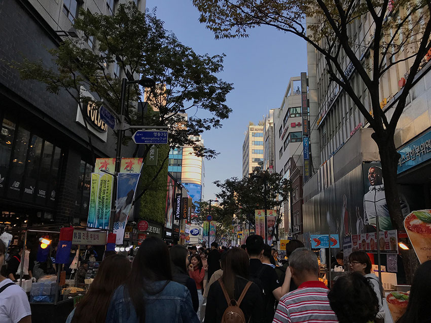 Crowds in the streets of Myeongdong