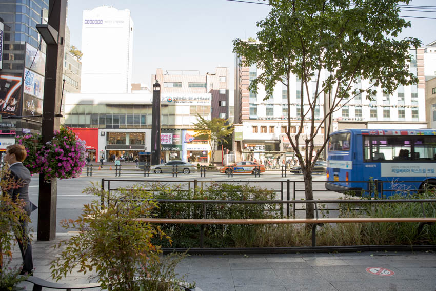 View of one of the streets of Seoul, taken from the footpath