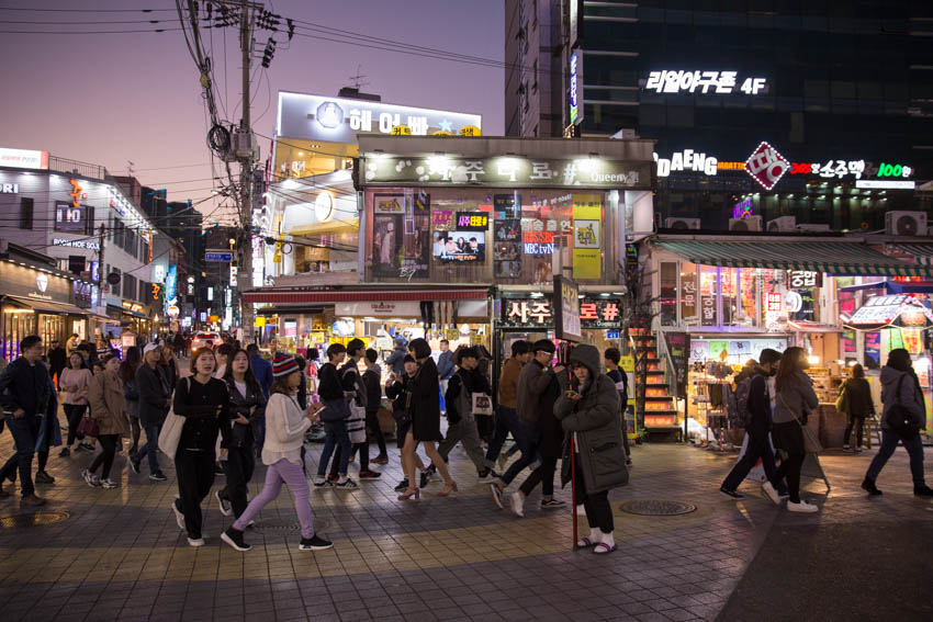 The main street of Hongdae with little crowds of people