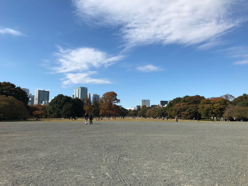 Grey gravel in the foreground leads to a wide pale green grassy area with people seated on the ground. Many autumn trees line the edges of the area, and high-rise city buildings are visible in the background. The sky is blue with some white patchy clouds