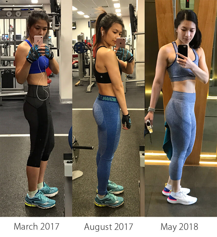 A triptych of a woman from the side, dressed in activewear. There are labels beneath each section: March 2017, August 2017, and May 2018