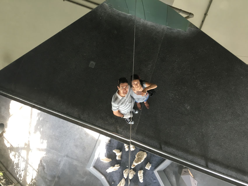 Mirror ceiling selfie of me and Nick