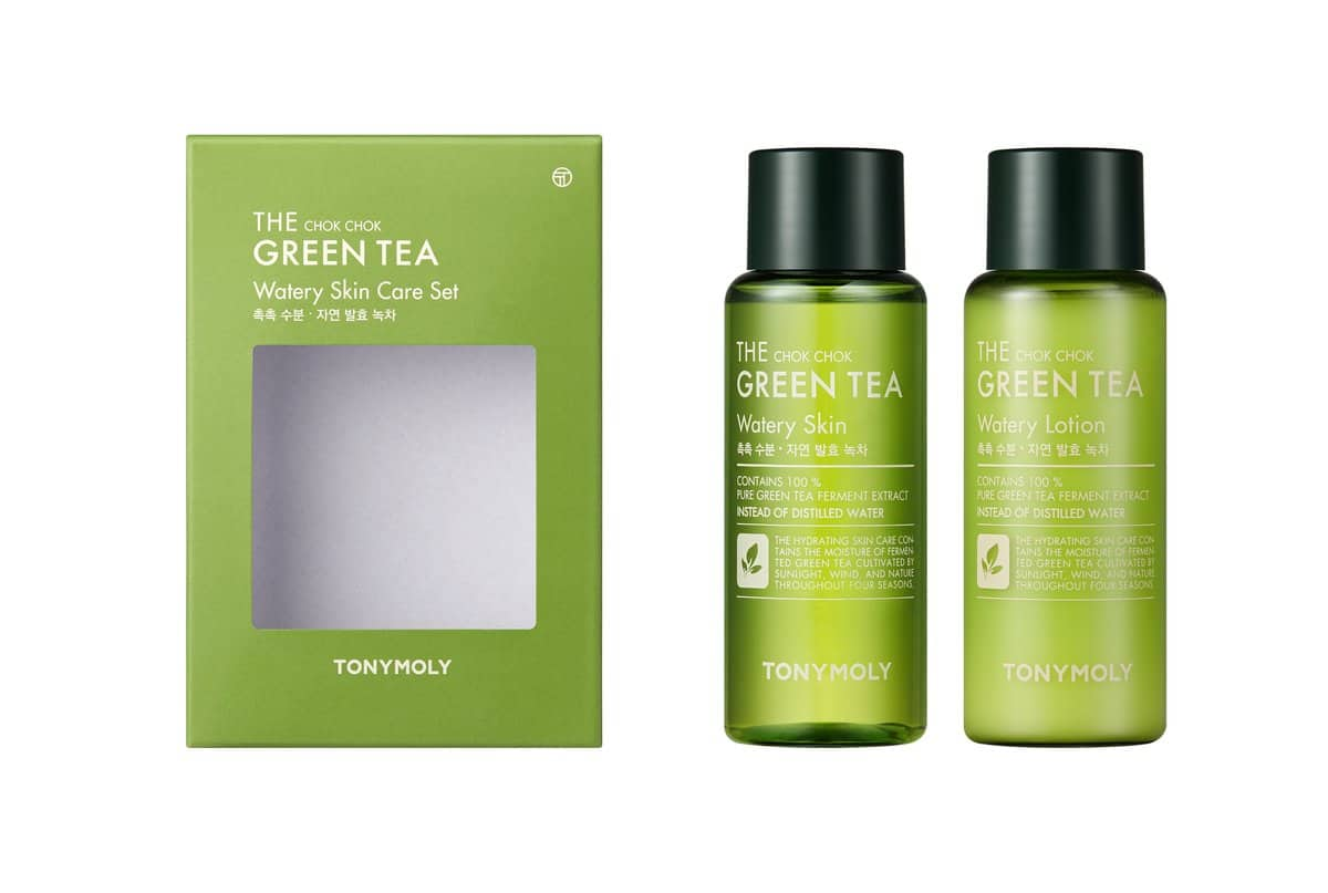 Stock image of green packaging for two bottles of skincare, shown with the bottles alongside it. It's labelled as being from a Green Tea range.