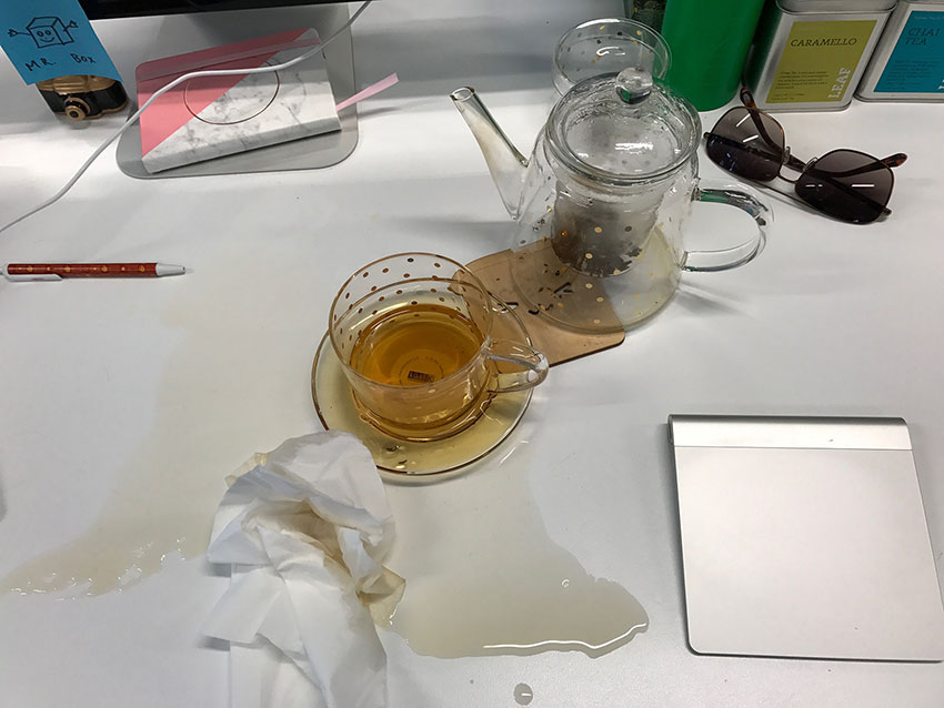A tea spill on my work desk