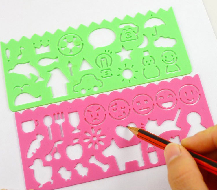 Plastic stencils with basic shapes
