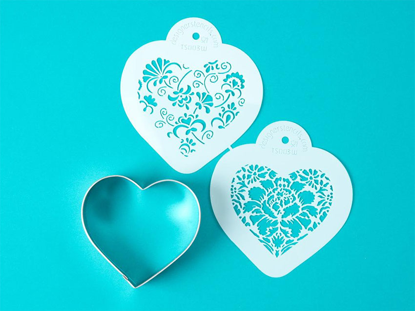 Intricate heart stencil cutouts