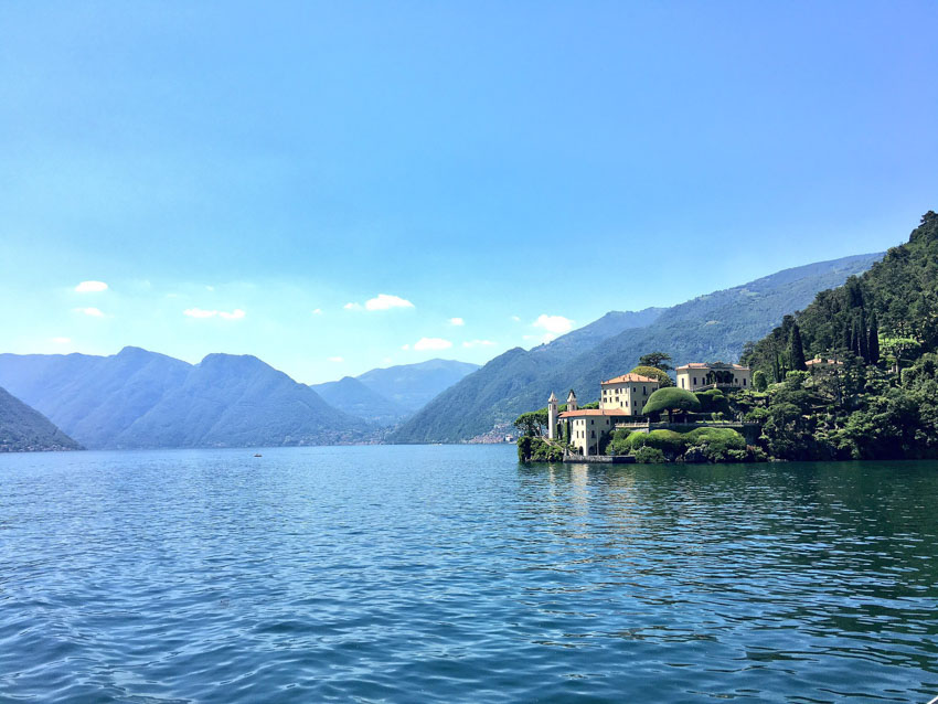 The waters of Lake Como with mountains in view