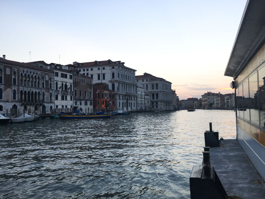 A view of Venice in the late evening, taken from a vaporetto stop
