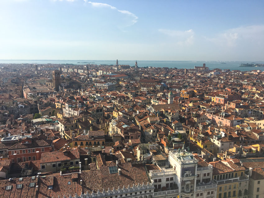 A view of Venice from St Mark's Campanile (a bell tower)