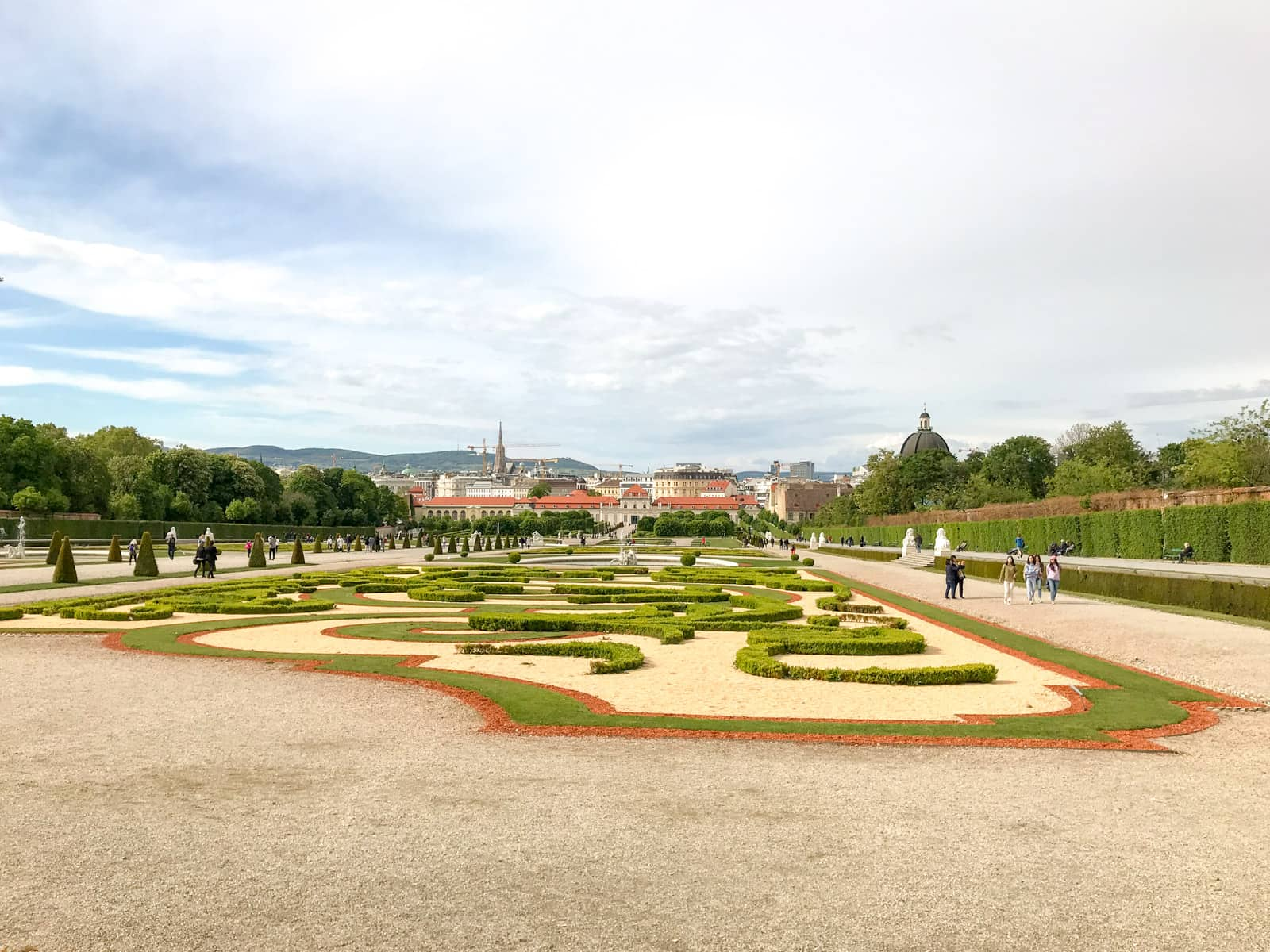 The grounds of Schlössgarten, showing some of the patterns created with small hedges. Wide gravel areas to the sides allow visitors to walk around the grounds