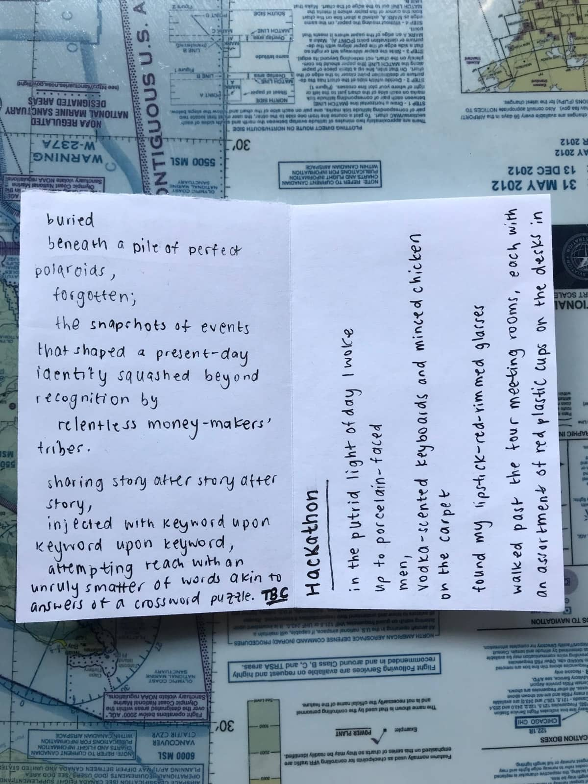 "The inside of a zine with part of a poem and the start of a poem titled ""Hackathon"""