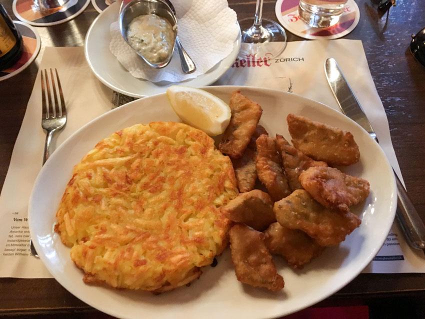 Rosti potato and perch fillets