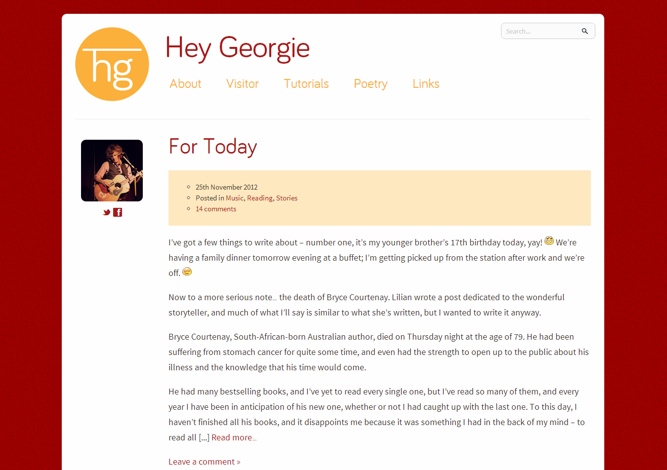 A screenshot of a blog with a red and orange theme