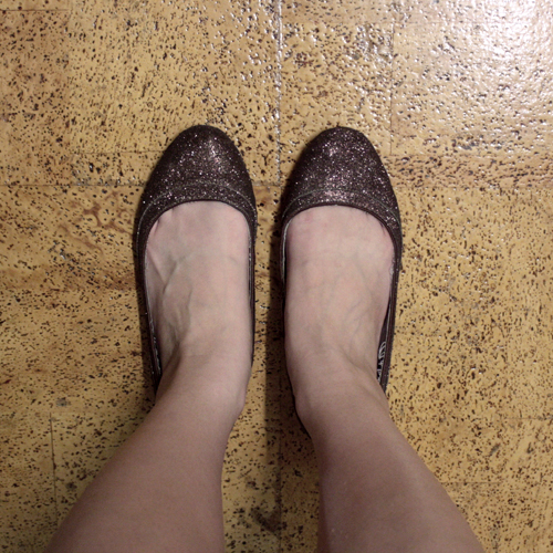 Sparkly brown flats