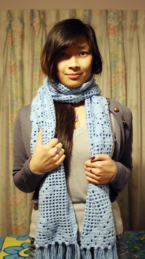 Blue Scarf knitted by my best friend Lilian