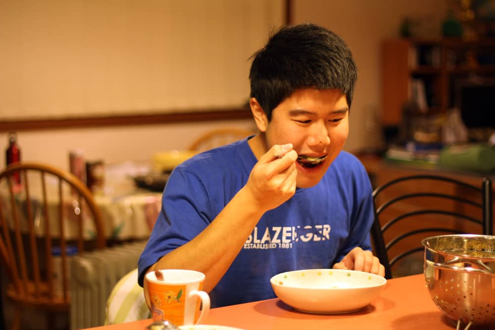 James eating.