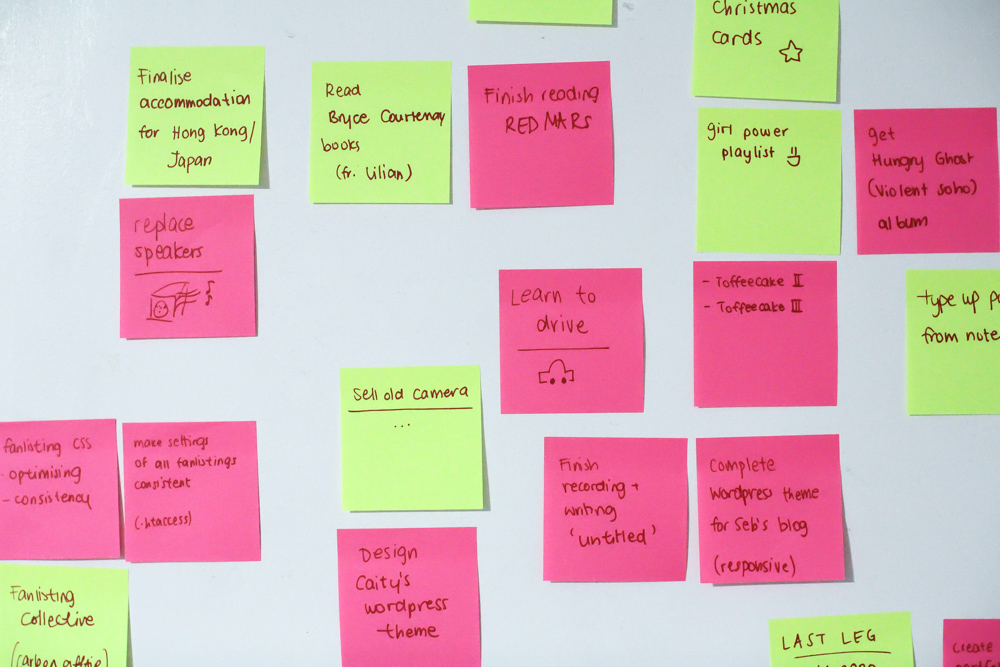 Post-it notes on a wall. Things to do. Great things to do.