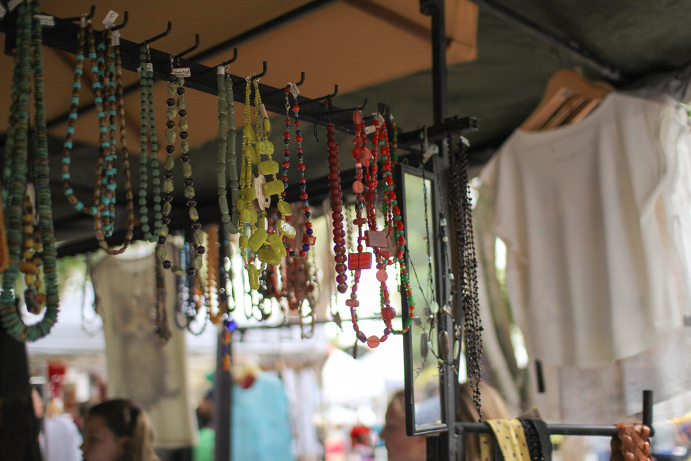 Some necklaces at a jewellery stall
