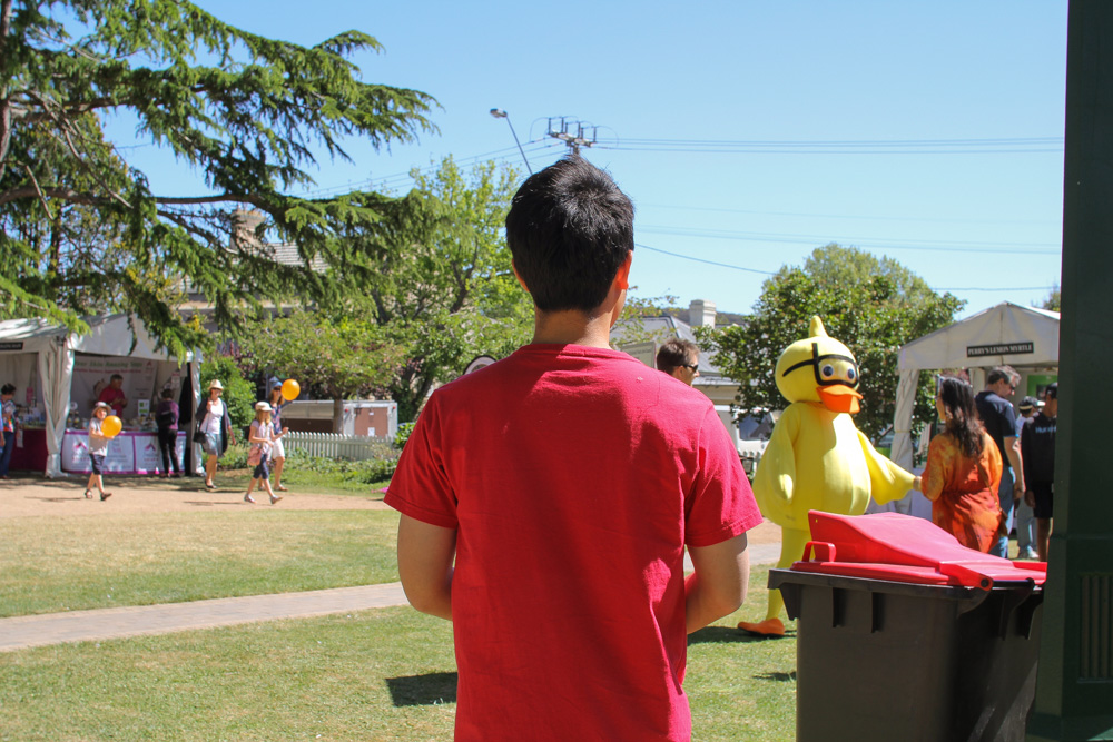 James watching someone dressed in a duck costume