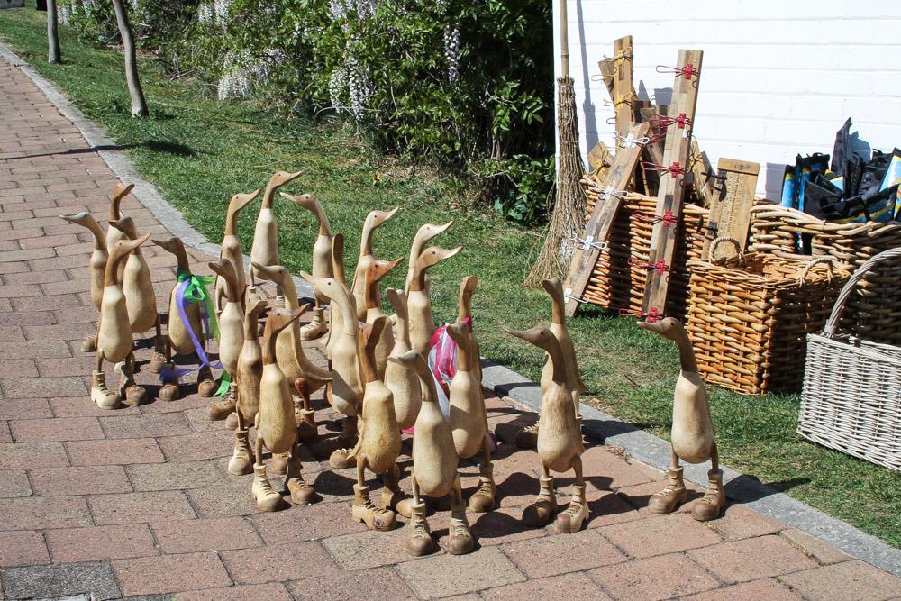 Wooden duck sculptures
