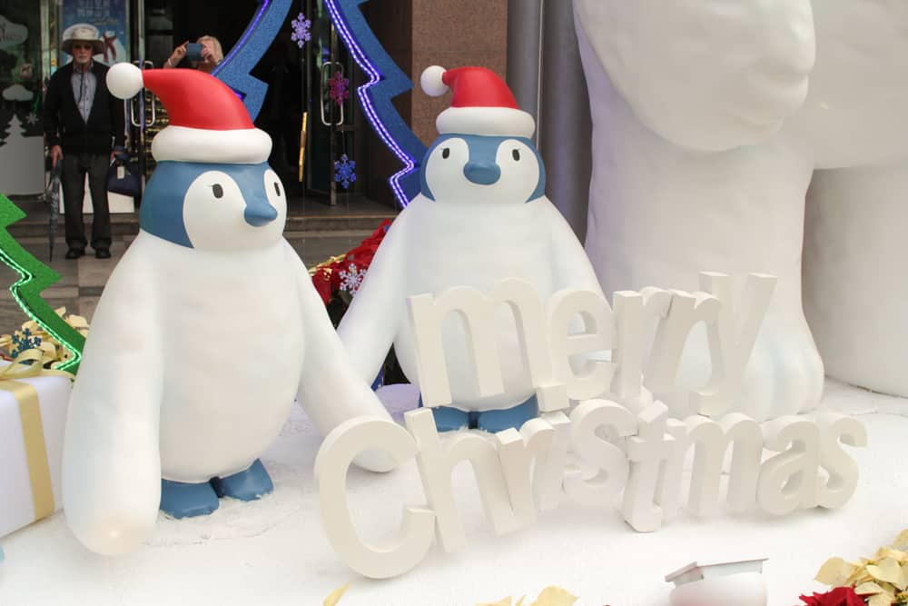 Cute penguin statues